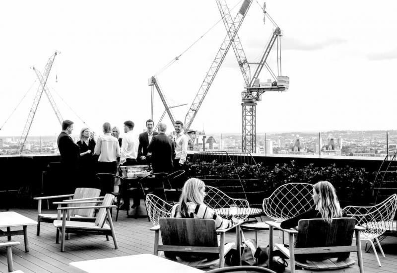 Roof terrace with employees
